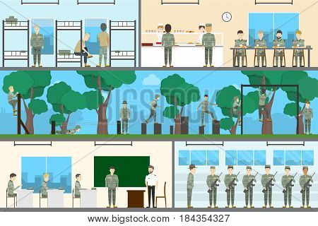 Army interior set. Soldiers with officers on military base with weapons. Stydy and training.
