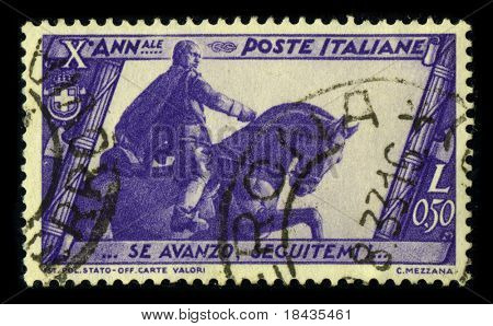 ITALY-CIRCA 1933:A stamp printed in ITALY shows image of the Benito Amilcare Andrea Mussolini (29 July 1883 - 28 April 1945) was an Italian politician who led the National Fascist Party, circa 1933.