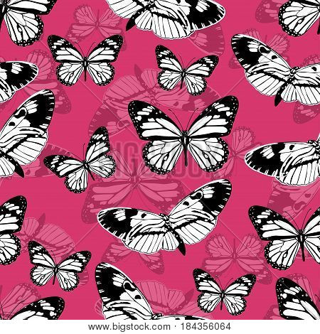 Butterflies Seamless Pattern, Monochrome Vector Background. Black And White Various Insects On A Pin