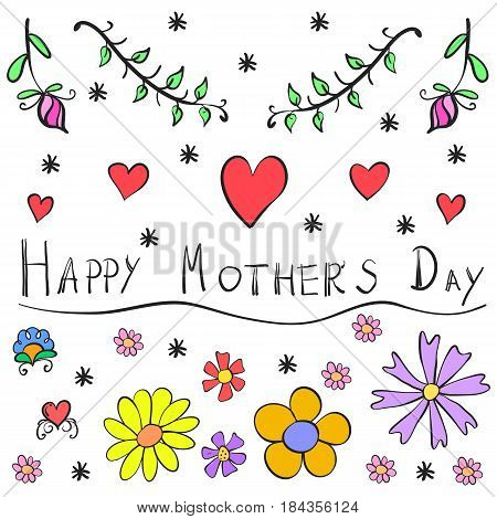Doodle mother day vector art collection stock