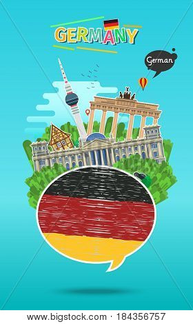 Concept of travel to Germany or studying German. Speech bubble with hand drawn German flag and landmarks. Flat design, vector illustration