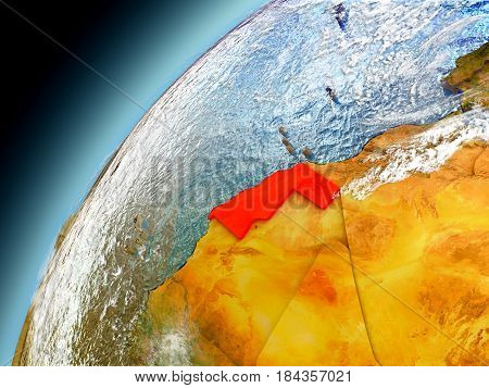 Western Sahara From Orbit Of Model Earth