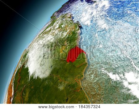 Suriname From Orbit Of Model Earth