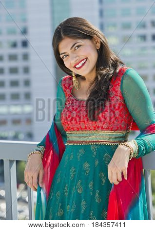 Indian woman in traditional Indian clothing