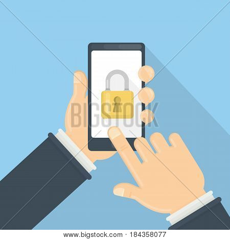 Phone lock concept. Male hands hold smartphone with lock screen.