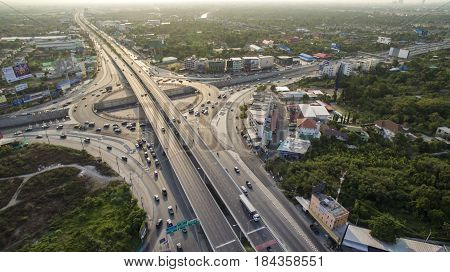 BANGKOK THAILAND - APRIL25 :aerial view of nakorn inn roundabout traffic junction in nonthaburi outskirt of krungthep on april 25 2017 in bangkok thailand