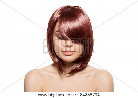 Portrait Of Beautiful Young Redhair Woman With Long Wavy Hair. Isolated On White Background.