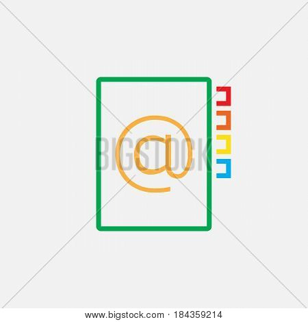 Address Book Line Icon, Color Outline Vector Pixel Perfect Illustration, Linear Pictogram Isolated O