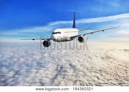 Passengers airplane flying above clouds. Transportation and travel concept. Aerial vehicle for fast traveling