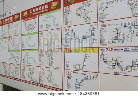KAOHSIUNG TAIWAN - DECEMBER 15, 2016: Kaohsiung public bus timetable