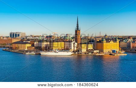 Stockholm - October 2014, Sweden: Aerial view of Stockholm skyline against the clear blue sky, cityscape of historical center in the Sweden capital city, Northern Europe, Scandinavia