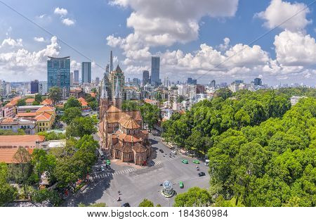 Ho Chi Minh City, Vietnam - May 1st, 2017: Aerial view Notre-Dame Cathedral Basilica beauty buildings over a hundred years old, so far skyscraper for Economic Development in Ho Chi Minh City, Vietnam