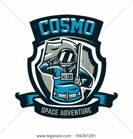 Emblem, logo, an astronaut salutes and holds a flag. Flight to the moon, space, intergalactic journey, universe, shield. Vector illustration, printing on T-shirts.