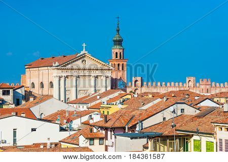 Cityscape of the medieval walled city of Cittadella, view of historical city center and Duomo di Cittadella (the main Roman Catholic church) military outpost of Padua (Padova), Northern Italy