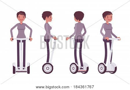 Young attractive happy woman riding white segway, modern transport, city vehicle, standing pose, sightseeing, vector flat style cartoon illustration isolated, white background, front, side, rear view poster