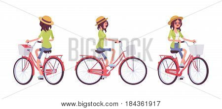 Young attractive happy woman riding a red city bike, wearing nice summer straw hat, enjoying comfortable ride, vector flat style cartoon illustration isolated, white background, front, side, rear view