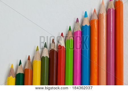 Colorful color pencil arranged in diagonal line on white background