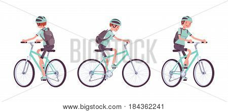Young attractive happy woman riding sport bike, wearing helmet and backpack, fitness, fun, active lifestyle, vector flat style cartoon illustration, isolated, white background, front, side, rear view