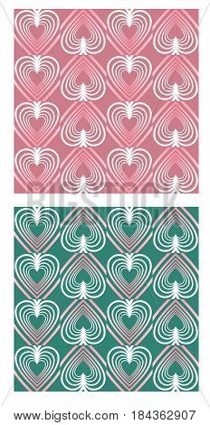 Heart shape patterns in mute nostalgic colors, pink and green variant, seamless abstract retro background, vector EPS 10