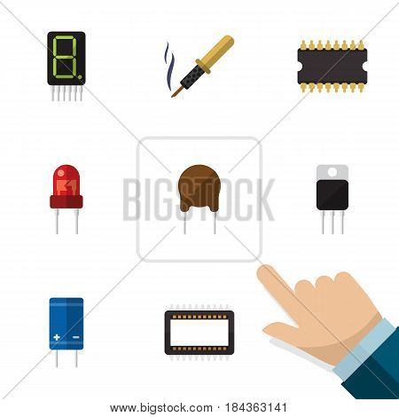 Flat Electronics Set Of Display, Repair, Mainframe And Other Vector Objects. Also Includes Display, Recipient, Processor Elements.