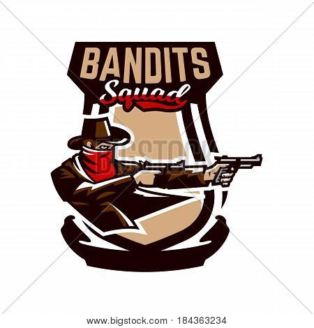 Emblem, logo, cowboy shooting from two revolvers. Wild west, a thug, Texas, a robber, a sheriff, a criminal, a shield. Vector illustration printing on T-shirts