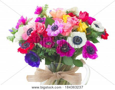 Fresh colorful Anemones flowers bouqet isolated on white background