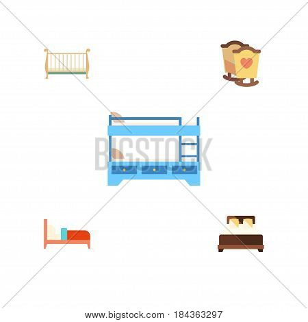 Flat Bed Set Of Crib, Cot, Mattress And Other Vector Objects. Also Includes Child, Bunk, Bearings Elements.