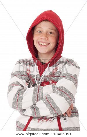 Smiling Teenager wearing red and grey Hood top