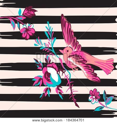 Hand drawn bird flying with flower roses tropical vintage print stripes pattern retro background vector illustration for design fashion shirt textile greeting card invitation wedding