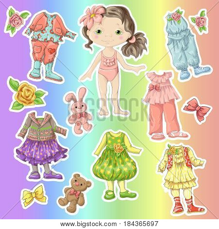 Dress A Cute Doll With Sets Of Clothes With Accessories And Toys.