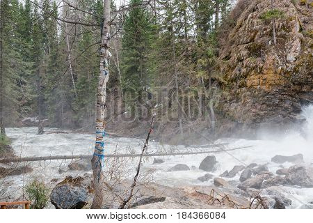 Mountain River. Strong Water Flow In The River From The Mountain. Bystry River.