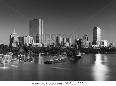 Boston skyline in the evening, Back Bay district, Massachusetts, USA