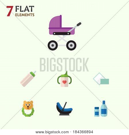 Flat Child Set Of Napkin, Stroller, Nursing Bottle And Other Vector Objects. Also Includes Cosmetics, Lotion, Towel Elements.