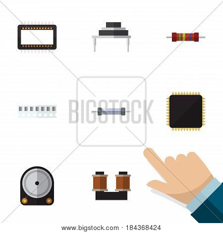 Flat Device Set Of Resistance, Cpu, Coil Copper And Other Vector Objects. Also Includes Hdd, Memory, Hard Elements.