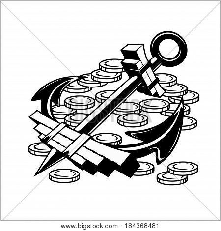 Pirate Emblem - Anchor and Coins - Vector illustration pirate sign
