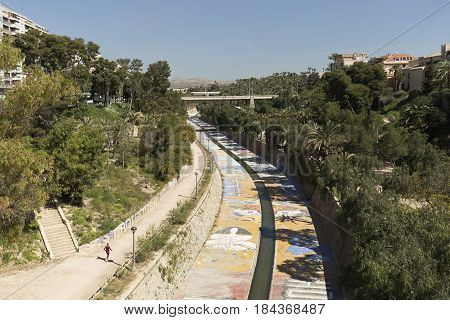 Views Of The River Vinalopo As It Passes Through The City Of Elche.