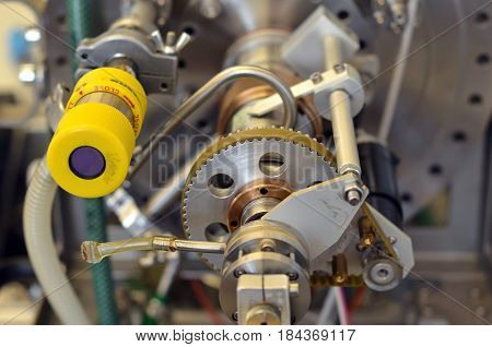 Detail Of Parts Of Laboratory Machine With Gear