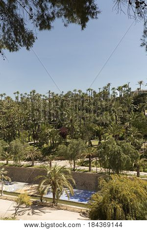 Views of the River Vinalopo as it passes through the city of Elche Alicante province in the Valencian community Spain.