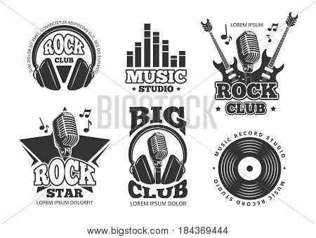 Retro audio record, studio sound vector labels, badges, logos, emblems. Sound studio record emblem, illustration of rock music club