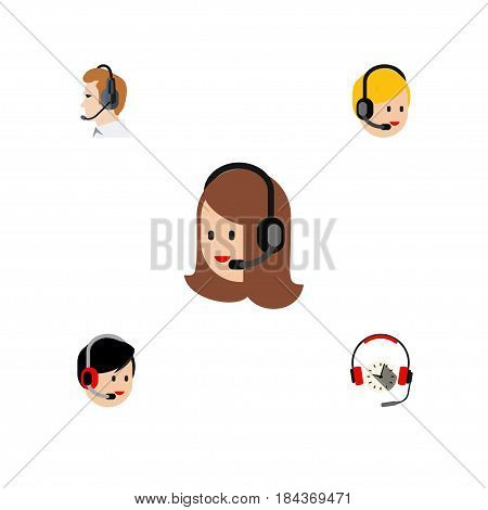 Flat Hotline Set Of Telemarketing, Operator, Headphone And Other Vector Objects. Also Includes Operator, Headset, Online Elements.