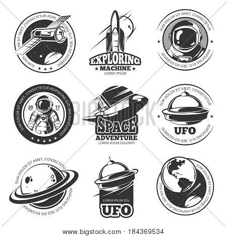 Retro space, astronaut, astronomy, spaceship shuttle vector labels, logos, badges, emblems. Explore mission space, illustration of rocket in space explore travel