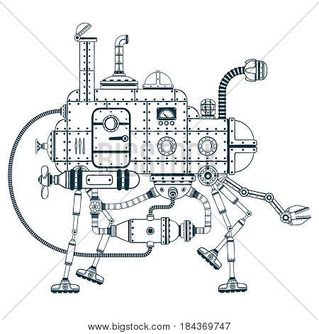 Fantastic steampunk self-propelled machine with four legs. Vector monochrome illustration.