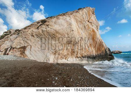Rock leaving into the sea. Island of Cyprus