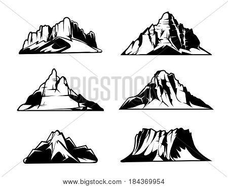 Monochrome mountains vector silhouettes. Snowy mountain ranges. Outdoor design elements set. Mountain landscape monochrome, illustration of hill mountains rock