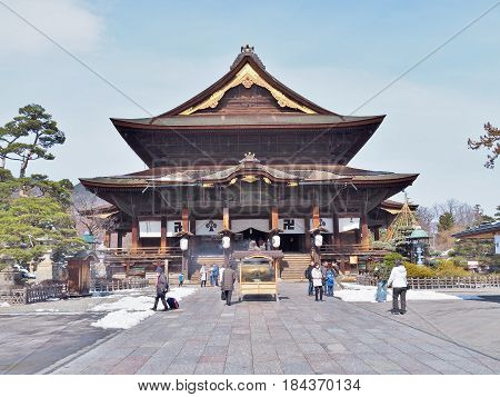 Nagano, Japan - February 22, 2017: The Main Hall of Zenkoji Temple, one of the most important temples in Nagano, Japan. The temple was built in the 7th century.