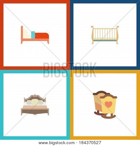 Flat  Set Of Bearings, Bedroom, Crib And Other Vector Objects. Also Includes Cot, Bearings, Crib Elements.