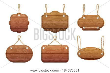 Hanging signs with wood texture isolate on white background. Vector illustration set. Wood board hanging on rope, blank texture wooden board