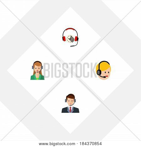 Flat Call Set Of Hotline, Secretary, Call Center And Other Vector Objects. Also Includes Service, Center, Secretary Elements.