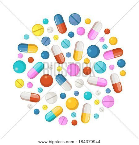 Healthy elements in circle shape background. Vector icons of drugs, long tablets and round pills. Drug pill and tablet, illustration of colored pharmaceutical capsule and tablet vitamin