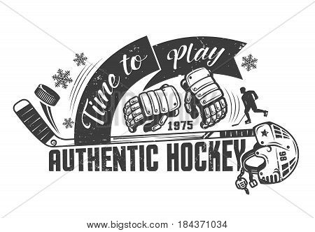 Hockey monochrome concept template with equipment and inscriptions for poster print or tattoo. Grunge texture on a separate layer.